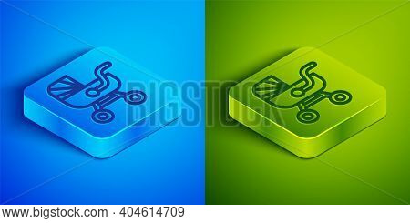 Isometric Line Baby Stroller Icon Isolated On Blue And Green Background. Baby Carriage, Buggy, Pram,
