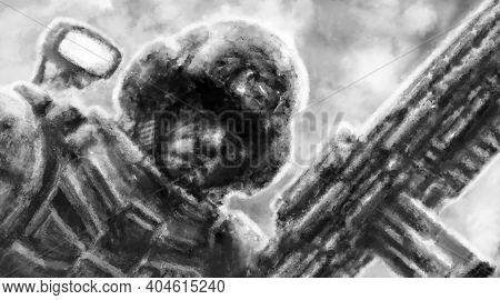Grim Soldier With Machine Gun In His Hand. Serious Male Face In Helmet With Dark Eyes. Illustration
