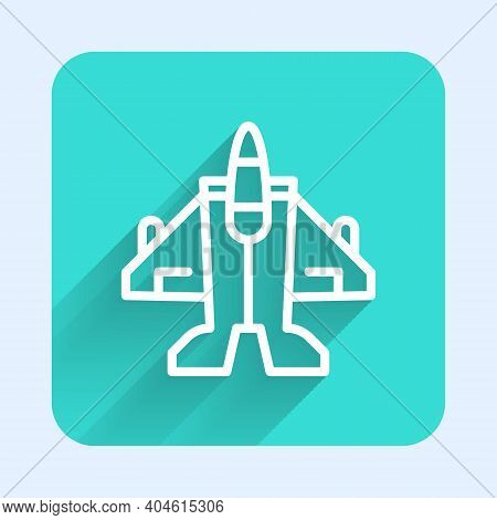 White Line Jet Fighter Icon Isolated With Long Shadow. Military Aircraft. Green Square Button. Vecto