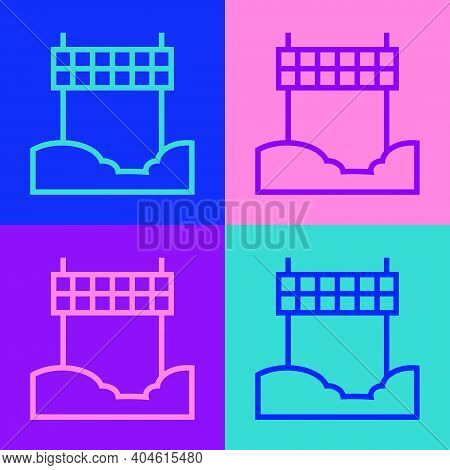Pop Art Line Ribbon In Finishing Line Icon Isolated On Color Background. Symbol Of Finish Line. Spor