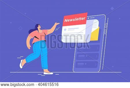 Newsletter Subcription Online In Mobile App. Flat Vector Illustration Of Smiling Woman Pointing To B