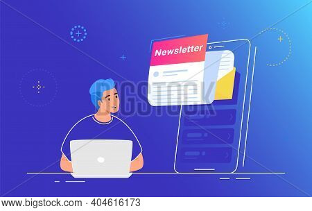 Newsletter Subcription And Push Notifications On Mobile App. Flat Vector Illustration Of Smiling Man