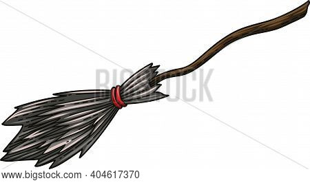 Broom. Black Witch S Broom With Red Ribbon