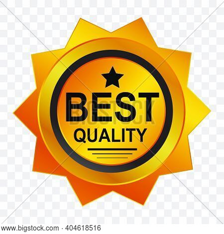Golden Tag Or Badge, Golden Quality, At Transparent Effect Background.