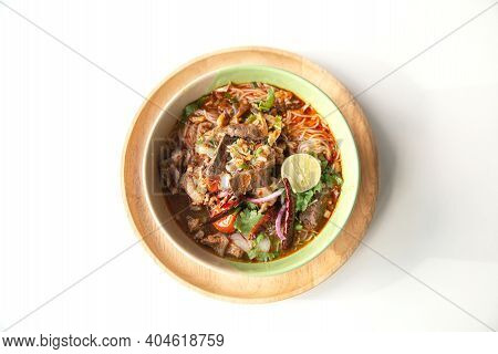 Rice Noodles With Spicy Pork Sauce (nam Ngiao) Is A Noodle Soup Or Curry Of The Cuisine Of The Tai Y