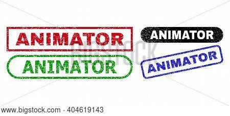 Animator Grunge Watermarks. Flat Vector Grunge Watermarks With Animator Text Inside Different Rectan
