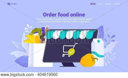 Buy Food, Order Grocery Online Flat Vector Illustration, Food Delivery. Shopping Basket With Food An