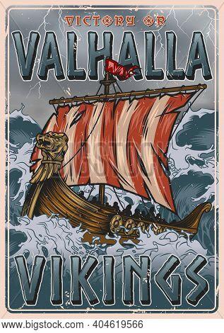 Viking Vintage Colorful Poster With Medieval Scandinavian Drakkar Ship Sailing On Stormy Sea Vector
