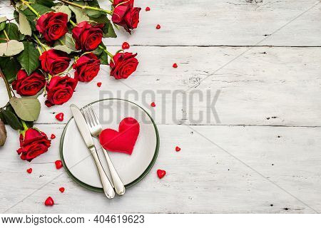 Romantic Dinner Table. Love Concept For Valentine's Or Mother's Day, Wedding Cutlery