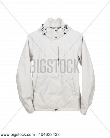 White Sports Waterproof And Windproof Jacket Isolated On White Background.