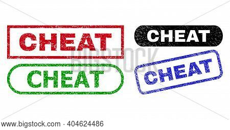 Cheat Grunge Seal Stamps. Flat Vector Grunge Seal Stamps With Cheat Slogan Inside Different Rectangl