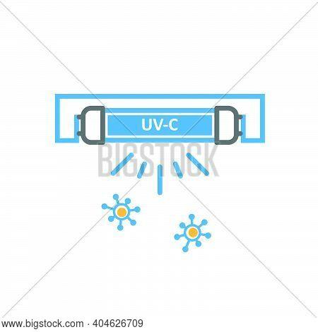 Uv Quartz Light Bulb For Disinfection, Ultraviolet Lamp Icon And Viruses, Vector