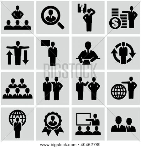 Business persons, businessman, management, human resources. Icons set.