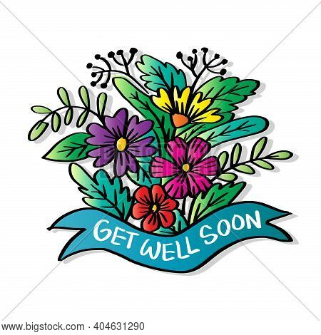 Get Well Soon, Hand Lettering. Greeting Card. White Background.
