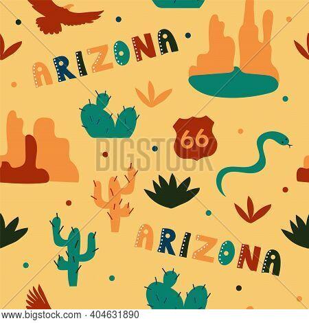 Usa Collection. Vector Illustration Of Arizona Theme. State Symbols - Seamless Pattern