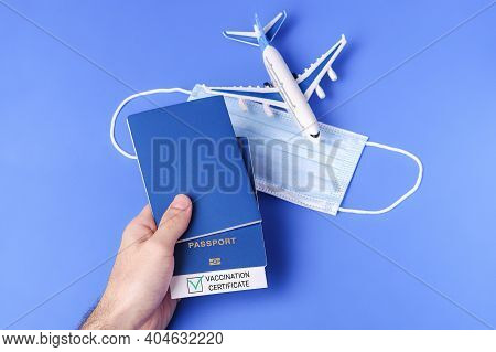 Vaccination Passport With Green Check Mark, Risk-free Travel Certificate Concept