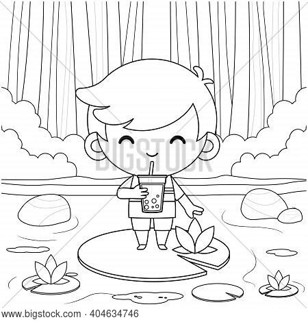 Illustration Vector Graphic Of Coloring Book For Kids. Cartoon Cute Little Boy Standing On Lotus, Dr