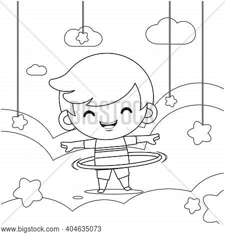 Illustration Vector Graphic Of Coloring Book For Kids. Cute Little Boy Playing Hula Hoop On Cloud, G