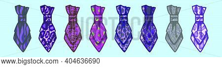 Set Of Cravat Cartoon Icon Design Template With Various Models. Modern Vector Illustration Isolated