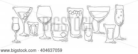 Collection Of Glasses Of Alcohol Thin Lines. Beer Champagne Red Wine Liquor Vodka Martini Whiskey Ru