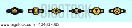 Set Of Championship Belt Cartoon Icon Design Template With Various Models. Modern Vector Illustratio