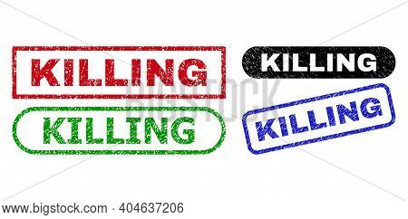 Killing Grunge Watermarks. Flat Vector Distress Watermarks With Killing Caption Inside Different Rec