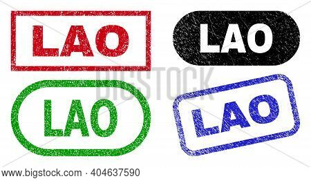 Lao Grunge Watermarks. Flat Vector Scratched Watermarks With Lao Caption Inside Different Rectangle