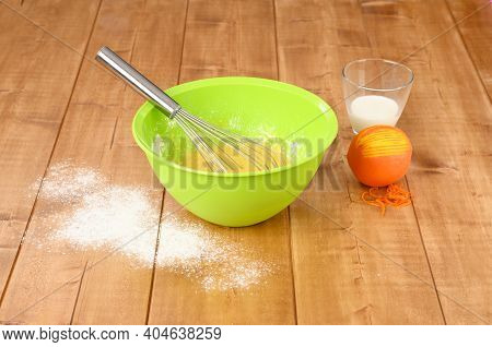 Mix Ingredients For Cookies With Whisk. Tangerine Cake.