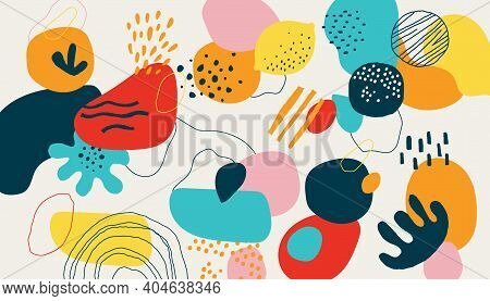 Modern Scribble Background. Trendy Geometric Doodle Shapes, Drops And Natural Forms. Modern Bright C