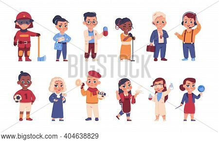 Kids In Uniform. Cartoon Cheerful Children In Costumes Of Different Occupations. Choice Of Professio