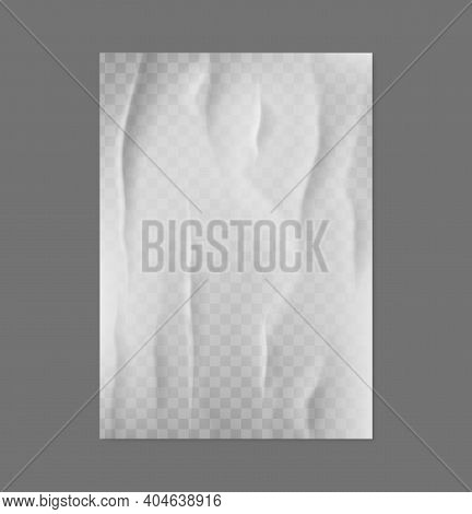 Glued Paper. Realistic Blank Creased Poster. 3d White Crumpled Page With Folds. Empty Wrinkled Docum