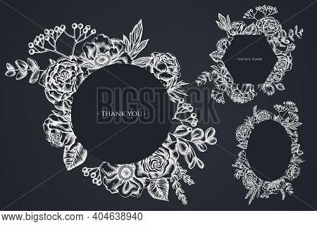 Floral Frames With Chalk Roses, Anemone, Eucalyptus, Lavender, Peony Viburnum Stock Illustration