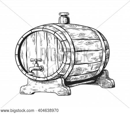 Hand Drawn Wooden Keg With Beer. Round Shape Cask With Faucet And Plug. Liquid Storage For Pub And B
