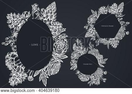 Floral Frames With Chalk Peony, Carnation, Ranunculus, Wax Flower, Ornithogalum, Hyacinth Stock Illu