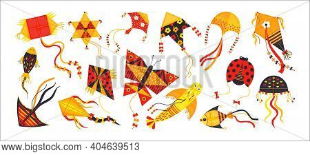 Cartoon Kite. Festive Toys Flying In Sky. Red And Yellow Hovering Isolated Objects. Animals And Geom