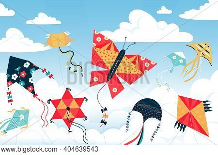 Kite In Sky. Cartoon Children Wind Toys Of Various Shapes And Colors In Summer Heaven. Paper Objects