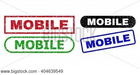 Mobile Grunge Watermarks. Flat Vector Scratched Watermarks With Mobile Phrase Inside Different Recta