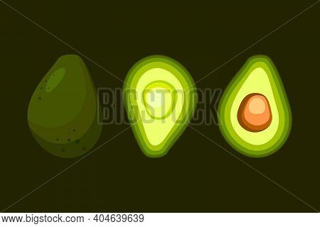 Whole And Half Avocados Isolated On Dark Green Background. Healthy Plant-based Food For Vegetarians