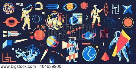 Galaxy Astronaut. Cartoon Futuristic Psychedelic Cosmos With Mystic Cosmonaut Or Planets. Isolated A