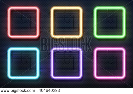 Neon Square Lamps. Realistic Electric Borders, Colorful Illuminated Frames. Glowing Rectangle Signbo