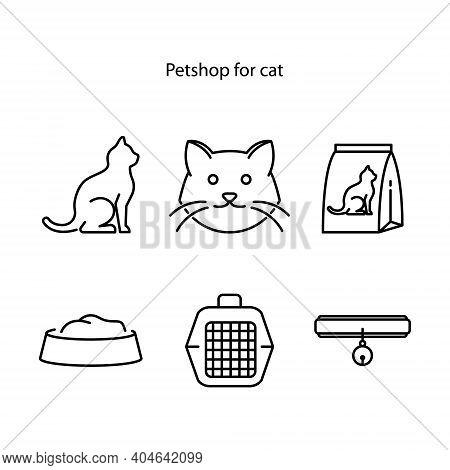 Pet Shop Flat Line Icons Set, Cat Scratcher, Food Cat, Icon Set Of Cat, Vector Illustrations. Thin S