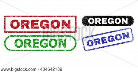 Oregon Grunge Seal Stamps. Flat Vector Scratched Seal Stamps With Oregon Slogan Inside Different Rec