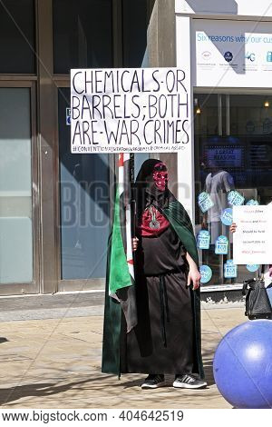 Bristol, Uk - April 8, 2017: A Demonstrator Protests Against The Use Of Chemical Weapons In Syria
