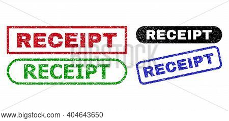 Receipt Grunge Watermarks. Flat Vector Distress Watermarks With Receipt Title Inside Different Recta