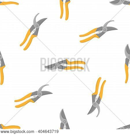Seamless Pattern With Cartoon Gardening Scissors, Secateur On White Background. Gardening Tool. Vect