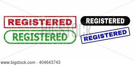 Registered Grunge Seal Stamps. Flat Vector Grunge Seal Stamps With Registered Slogan Inside Differen