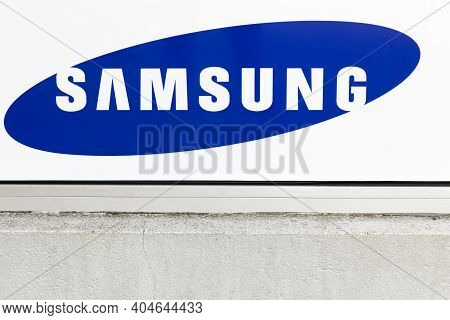 Villefranche, France - March 13, 2017: Samsung Logo On A Wall. Samsung Is A South Korean Multination