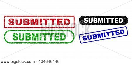 Submitted Grunge Seals. Flat Vector Grunge Seals With Submitted Phrase Inside Different Rectangle An