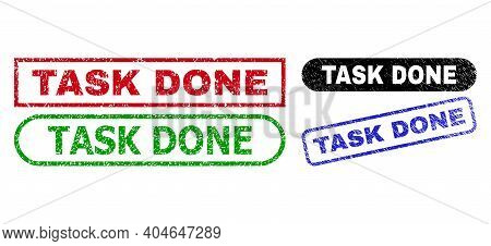 Task Done Grunge Stamps. Flat Vector Grunge Stamps With Task Done Message Inside Different Rectangle