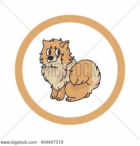 Cute Cartoon Pomeranian In Circle Dog Vector Clipart. Pedigree Kennel Doggie Breed For Kennel Club.